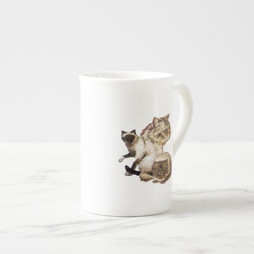 Three Gray and Golden Brown Pet Cats Sketched. Tea Cup