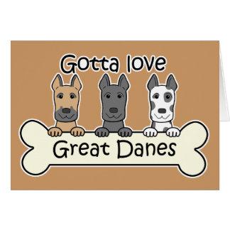 Three Great Danes Card