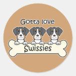 Three Greater Swiss Round Stickers