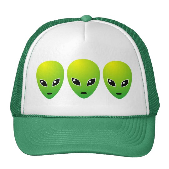 Three Green Aliens - Customized Trucker Hat