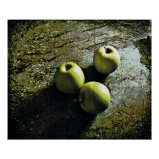 Three Green Apples print