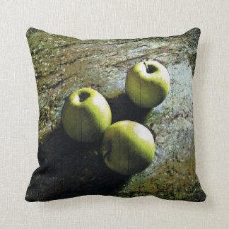 Three Green Apples Throw Pillow