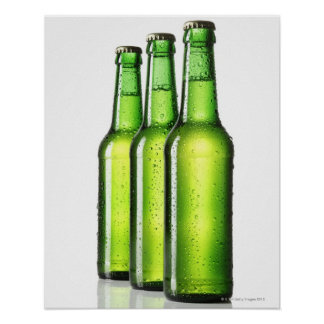Three green bottles of beer on white background, poster