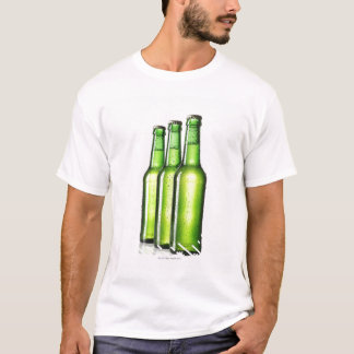 Three green bottles of beer on white background, T-Shirt