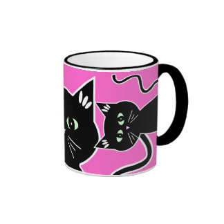 Three Green-Eyed Black Cats Retro Drawing Coffee Mugs