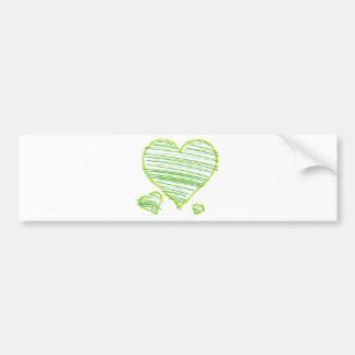 Three Green Hearts with Scribbled Lines Inside Bumper Stickers
