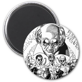 Three Green Lanterns Comic Cover, Black and White 2 Inch Round Magnet