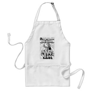 Three Green Lanterns Comic Cover, Black and White Adult Apron