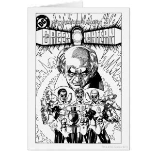 Three Green Lanterns Comic Cover, Black and White Card