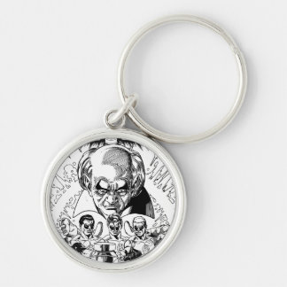 Three Green Lanterns Comic Cover, Black and White Keychain