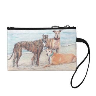 Three Greyhounds on the Beach Dog Art Key/Coin Bag