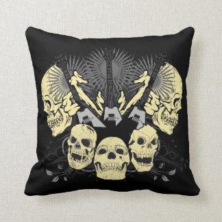 Three Guitars and Skulls Pillow