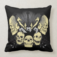 Three Guitars and Skulls Pillow throwpillow