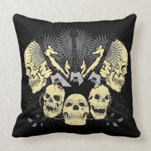 Three Guitars and Skulls Pillow throwpillow