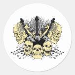 Three Guitars with Skulls Classic Round Sticker