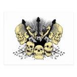 Three Guitars with Skulls Postcards