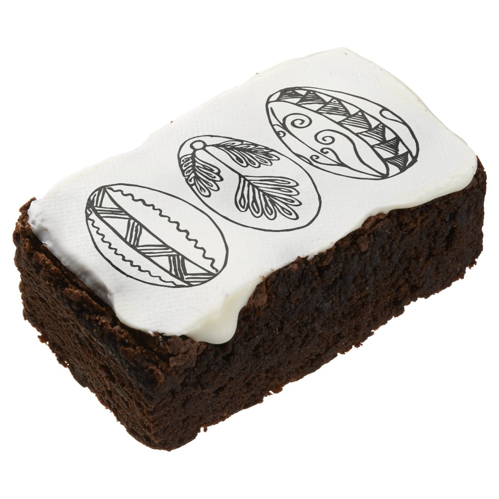 Three Hand Drawn Fancy Easter Eggs Adult Coloring Brownie