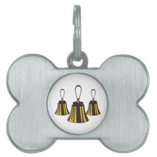 Three Handbells Pet Name Tag