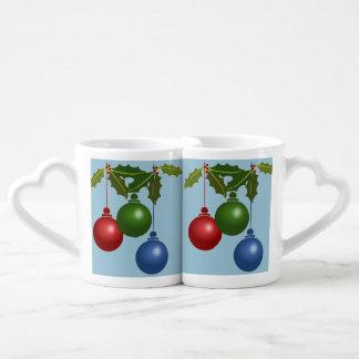 Three Hanging Christmas Balls Couples' Coffee Mug Set