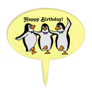 Three Happy Dancing Penguins Birthday Party Cake Topper