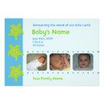 Three Happy Honu Birth Announcement - Blue