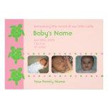 Three Happy Honu Birth Announcement - Pink
