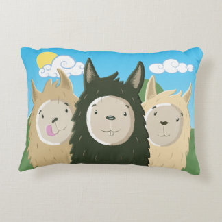 Three Happy Llamas Decorative Pillow