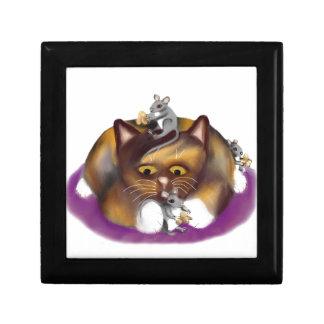 Three Happy Mice and their Calico Friend Jewelry Box