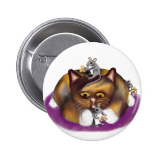 Three Happy Mice and their Calico Friend Pinback Button