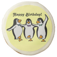 Three Happy Penguins Dancing Birthday Party Sugar Cookie