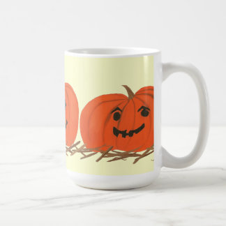 Three Happy Pumpkins in Hay Halloween Mugs