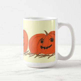 Three Happy Pumpkins in Hay Halloween Mugs
