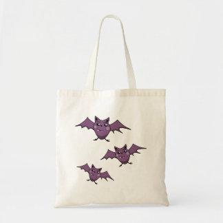 Three Happy Purple Bats Halloween tote