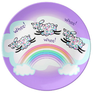 Three Happy Whee Sheep Leaping Over a Rainbow Porcelain Plates