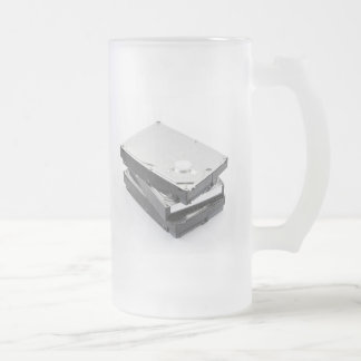 Three hard disks stacked frosted glass beer mug