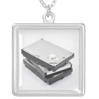 Three hard disks stacked square pendant necklace