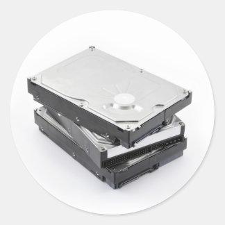 Three hard disks stacked round sticker