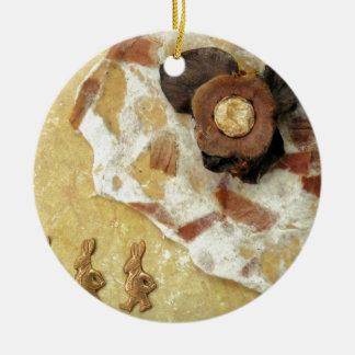 Three Hare Night - collage Ceramic Ornament