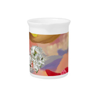 Three hats with flowers drink pitcher