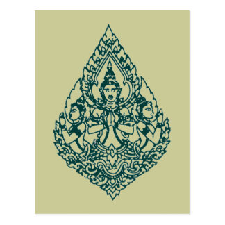 THREE HEAD BUDDHA PRAYING LAO, THAI & CAMBODIA POSTCARD