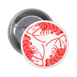 Three head-to tail spiny lobsters 2 inch round button