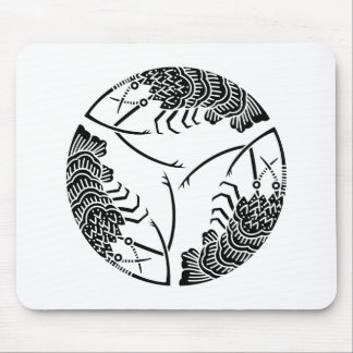 Three head-to tail spiny lobsters mouse pads