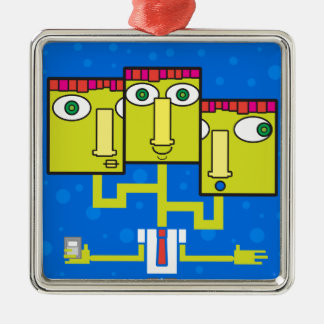 Three headed businessman metal ornament