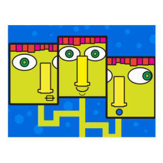 Three headed businessman postcard