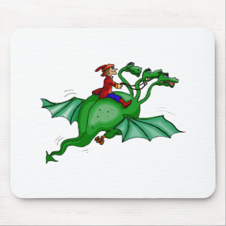 Three-Headed Dragon with Rider Mouse Pad