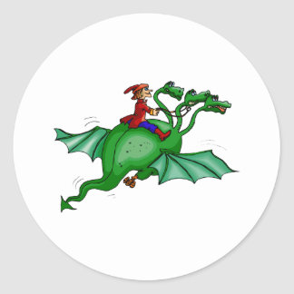 Three-Headed Dragon with Rider Classic Round Sticker