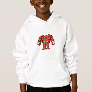 Three Headed Elephant Standing Retro Hoodie