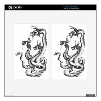 Three Headed Hydra Design Kindle Fire Skin