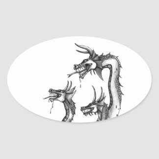 Three Headed Hydra Design Oval Sticker