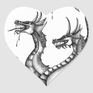 Three Headed Hydra Design Heart Stickers